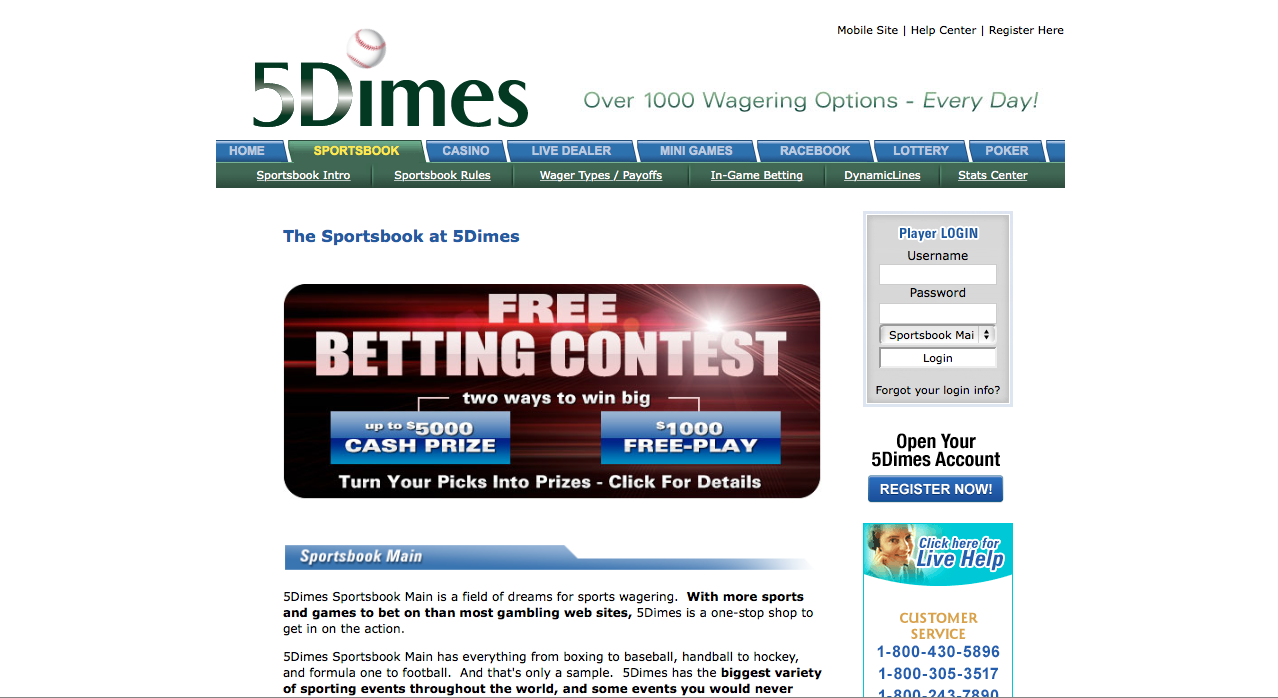 5 dimes sports betting